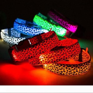 LED Dog Collar Safety Leopard Design Nylon Night Light Necklace For Dog Cat Glowing in the dark Flashing Pet Decor Producto L007