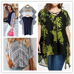 Capa para mujer Doble gasa camisetas 5XL verano florales del diseñador de la impresión de las camisetas flojas irregulares Las mujeres más del tamaño Moda Ropa Casual