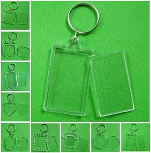 Cadre photo en acrylique transparent vierge en plastique Keyrings Insérer passeport cadre photo Cadre photo Porte-clefs Parti cadeau DHA450