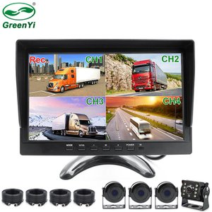 HD AHD 1920*1080P 10.1 Inch Car MP4 MP5 Truck Van Bus DVR Recording Video Monitor With 4CH AHD Front Rear Left Right Camera