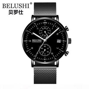 2018 New Fashion Luxury Business Montre Homme Belushi Marque qualité Montre chronographe étanche Quartz Homme Horloge Relogio Masculino