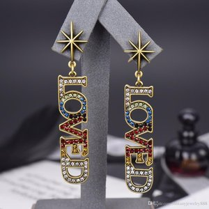 Classic retro color diamond letter pendant fashion designer earrings luxury designer jewelry women earrings