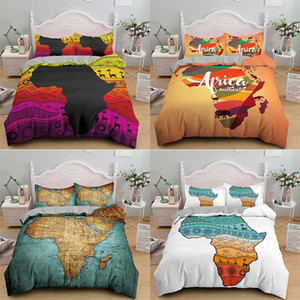 Map Painting Printed Duvet Cover Set with Pillowcase 2 3PCS Suit 3D Effect Bedding Set King Queen Size