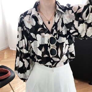 Boyama Baskılı kadın Gömlek Şifon Uzun Kollu Hafif Gömlek Kadın 2020 Yaz Yeni Moda Bayanlar Sunshirt