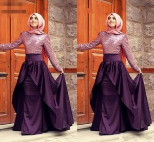 Purple Gowns Evening Dresses A-line Long Sleeves Satin Sequined bodice Scarf Islamic Arabic Long Prom Dresses Bestidos Party Dresses