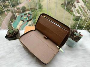 Mens Famous Einzel Zippy XL Wallet Damen Handtaschen Portemonnaie Kupplungs-Mappen-Leder-Geldbeutel-Kartenhalter Vintage Brown Druck Blumen-Kupplungs-N43079