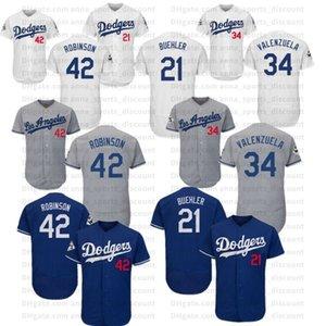 2020 série T-shirt respirável confortável e solta new jersey de beisebol Dodgers 21 Buehler 42 Robinson