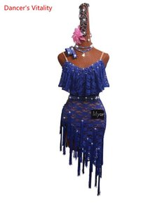 Custom Made Latin Dance Competition Costume manches bleu Performance Tassel Jupe dentelle robe de danse latine