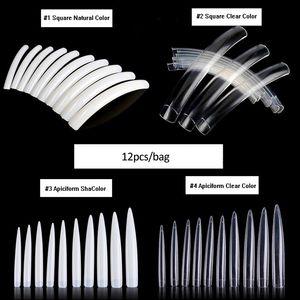 Tamax NAF004 12 PZ Natural Transparent False Nails Tips Acrilico UV Gel Manicure Artificiale Supresso Artificiale Lunghezza Logo Falso Nail Art Tip