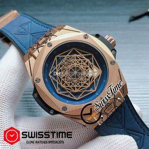 New Swiss Quartz Mens Watch Rose Gold Blue Inner Gold Skeleton Dial Tattoos Blue Rubber Strap Big Watches New SwissTime HUBG19b2