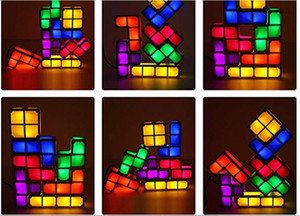 Обновление DIY Тетрис Night Light Красочный стекируемые Tangram Puzzles 7 шт LED Индукционная Переплетение лампы 3D игрушки подарок