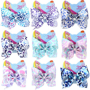 8 pouces Jojo Siwa Accessoires cheveux Bow Leopard charme coloré avec strass clips filles Big Accessoires cheveux épingle à cheveux hairband