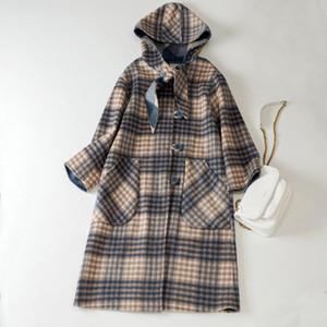 Cthink 100% lana cappotto incappucciato legame del collo del plaid Donne cappotto Fashion Casual Lungo Inverno donne elegante allentato Outerwear