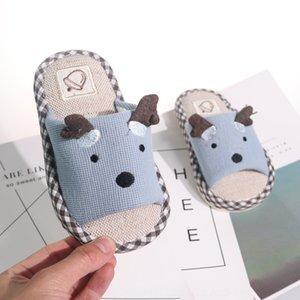 Fast Deer Children's linen autumn boy slippers cute cartoon girl Four Seasons slippers soft bottom anti-skid