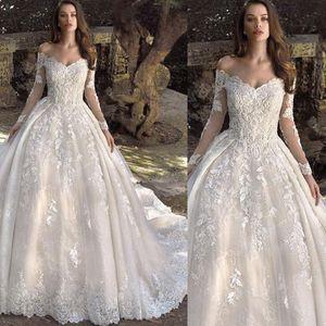 Vintage Elegant Off Shoulder Wedding Dresses Long Sleeve Lace Applique Country Boho Plus Size Wedding Dresses Bridal Gown Robe De Mariee