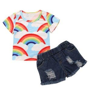 Ins 2020 Summer rainbow baby girls suits fashion girls outfits short sleeve T shirt+hole shorts Jeans 2pcs set 1-5Y baby girl clothes B1472