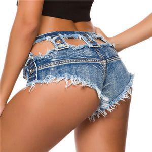 New Summer Sexy Women's Jeans Denim Shorts Hot Low Waist Shorts Sexy Hole Nightclub Jeans Feminino Hollow Out Mini