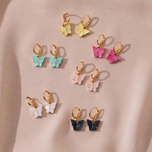 Kadınlar Sokak Stili Bırak Küpe Kore Moda Dangle Küpe Takı hediyeler Oorbellen için 10pcs / set Sevimli Kelebek Küpe