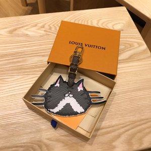 Diseñador del modelo de la cara del gato Accesorios CATOGRAM bolsa y a01 llavero de la llave del coche Accesorios MP2282 la piel de becerro de oro Primavera hebilla original Paquete