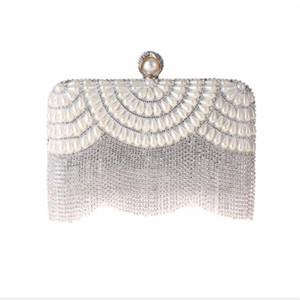 ABERA 2020 new women diamond tassel wedding dinner bags beads banquet purse for ladies ring bride shoulder bags MN1490