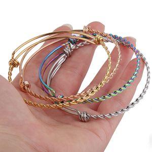 Acero inoxidable de DIY ampliable ajustable pulseras brazalete para las mujeres de los hombres de 55 mm 60 mm 65 mm Tamaño joyería trenzado pulsera del nudo de alambre