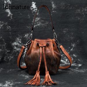 Johnature 2020 New Vintage en cuir de vache multifonction femmes Petit sac en cuir véritable mode Bucket Tassel Shouldercrossbody Sacs