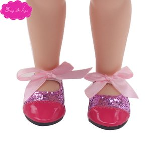 Bow Sequin pointed red leather shoes are suitable for 16 inch salon doll accessories shoes