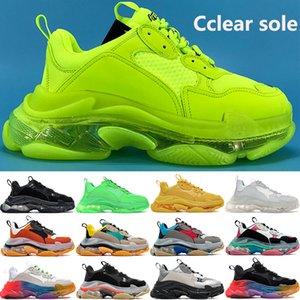 New Triple-S ясно единственная платформа Casual папа обувь Fluo тройной черная белого коричневая радуга единственным вольт лен неоновых зеленый Kanye тапок женщины