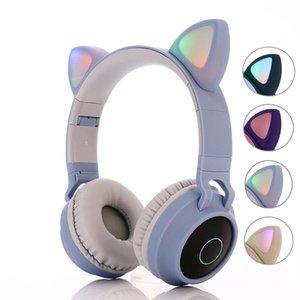 оптовые дети Bluetooth 5.0 наушники LED Уши свет Cat гарнитуры Беспроводные наушники HIFI Stereo Bass наушники для телефонов с микрофоном