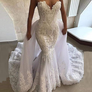 2020 Arabic Aso Ebi Vintage Lace Beaded Wedding Dresses with Detachable Train Sweetheart Mermaid Bridal Gown vestidos de novia