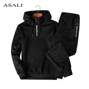 Asali Hoodies Set Men Outono Casual Mens com capuz agasalho com capuz + Pants 2 Parte de Homens Sportwear Pullovers Define Masculino Outwear 5XL CX200730