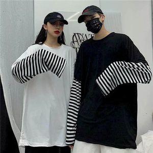 NiceMix Harajuku tshirt Women t shirt Boyfriend top Casual Couple Shirts Patchwork Striped Long Sleeve Hip Hop False Two Piece