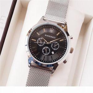 F Famous Racing Maserati Watch 44mm Steel Mesh Watches Men &#039 ;S Luxury Sports Watch Quartz Clock Luxury Mens Watches Montre Homme F