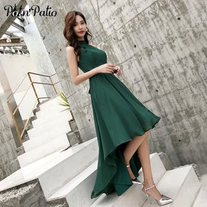 2019 New Green Chiffon High Low Beach Evening Dresses Sexy Halter Sleeveless Short Front Long Back Prom Dresses 2019 Plus Size Y190710
