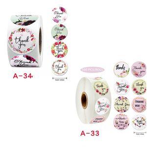Roll Blumen danken Ihnen Aufkleber-Siegel-Aufkleber Beschichtete Papierfarbe Aufkleber Self Adhesive Handgemachte Süßigkeit Keks Verpackung 2 2JK D2