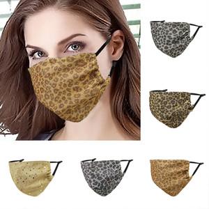Fashion Leopard Masks Designer Bling Bling Gold Line Mask Washable Dustproof Respirator Riding Cycling Men And Women Face Mask Reusable