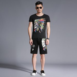 2019 Summer New Brand Designer Skull Head 3d Printing Trend Fashion Casual Set Decoration Two-piece Suit Size M-4xl