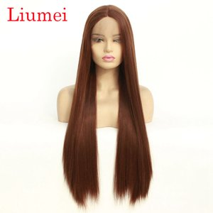 Natural Looking Medium Brown Long Straight Wigs for Women Realistic Soft Hair Synthetic Lace Front Wig High Quality 22inch