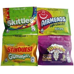 Sour Medicated Skittles Regenbogen-Tasche Starburst Gummies Arihead Warheads Xtremes 400mg 408 mg Zucker Seatte Zipper-Beutel Edibles Paket