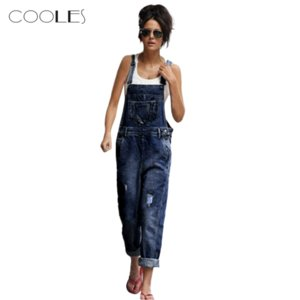 Bodysuit Women Loose Denim Jeans Pants Hole Overalls Straps Jumpsuit Rompers Trousers Ropa Mujer Salopette Femme ???? ???????