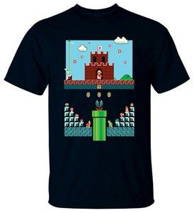 게임 슈퍼 마리오 브라더스 V1 비디오 게임 1985 T 셔츠 블랙 모든 크기 S-3XL 통기성이 티 셔츠 탑