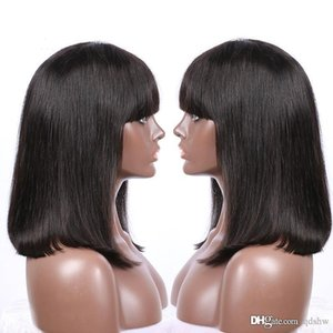 Lace Front Human Hair Wig 360 Pre Plucked Short Bob Cut Bang Glueless Virgin Peruvian Hair 360 Lacefront Wigs With Bangs