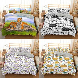 New Cartoon Cat Bedding Set Microfiber Kawaii Bed Sets For Women Girl King Twin Queen Size Duvet Cover And Pillowcases
