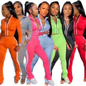 Женщины Pareped Constsuit Спортивные Jogger Suits Source Color Две части Наборы с длинным рукавом + Леггинсы Летняя Осень Одежда Повседневная Наряд 3540