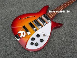 De alta qualidade guitarra elétrica, corpo vermelho cereja com F buraco, Ricken 325 guitarra elétrica, suporte de 34 polegadas, frete grátis