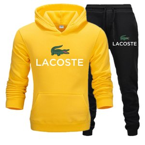 Homens Lacoste sportswear mens terno Sportswear e camisolas Outono Inverno Jogger Sporting Sweat Suits Tracksuits Set Plus Size S-3XL