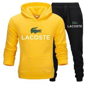 Lacoste Erkek spor giyim Spor Ve Tişörtü Sonbahar Kış Jogger Spor Suit Erkek Suits eşofman Seti Artı boyutu S-3XL Sweat
