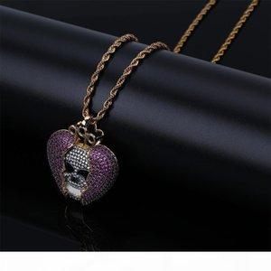 F Diable Squelette Coeur -Broken Goutte d'origine solide Zircon Hip -Hop Collier européenne et la personnalité américaine Hot -Selling