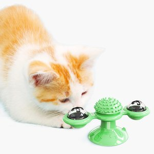Interactive Cat Windmill Turntable Toy Electronic Smart Cat Teasing Toy Pet Molar Bite Toy Hairbrush Suitable for Pet Cats Kitten