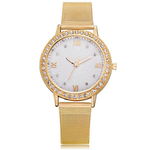 simple roma alloy mesh belts diamond crystal women ladies watches wholesale fashion students casual dress quartz wrist watch gift